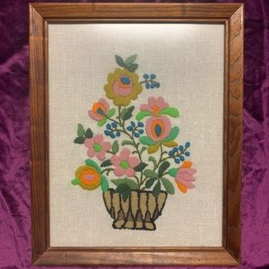 Vintage 1970s Hand Embroidered Floral Picture